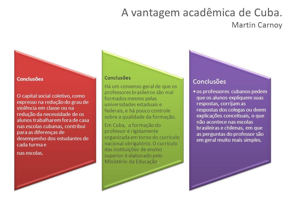 A vantagem acadêmica de Cuba. Martin Carnoy