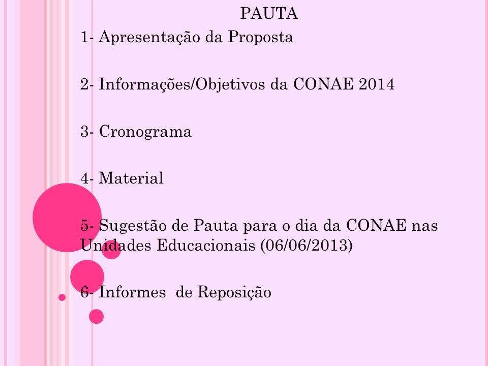 PAUTA1- Apresentação da Proposta. 2- Informações/Objetivos da CONAE 2014. 3- Cronograma. 4- Material.