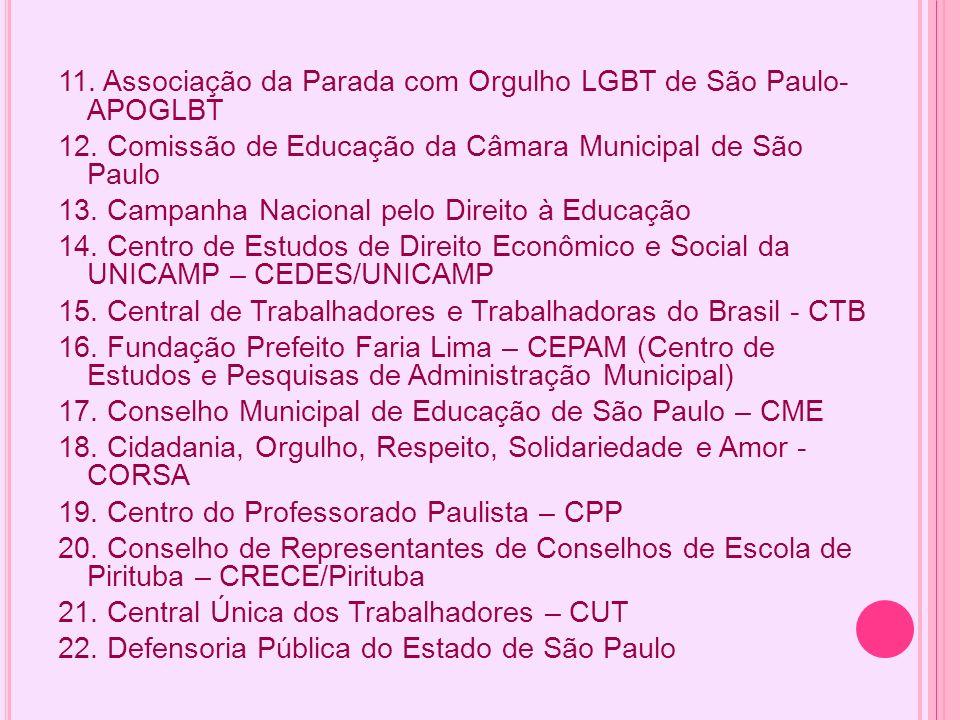 11. Associação da Parada com Orgulho LGBT de São Paulo- APOGLBT