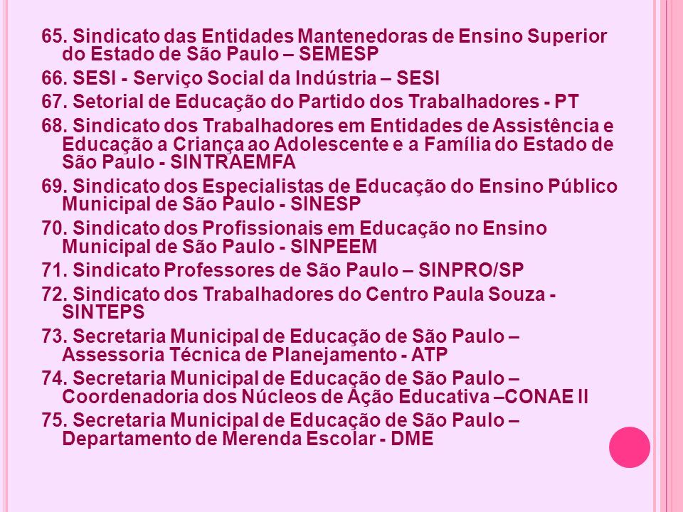 65. Sindicato das Entidades Mantenedoras de Ensino Superior do Estado de São Paulo – SEMESP