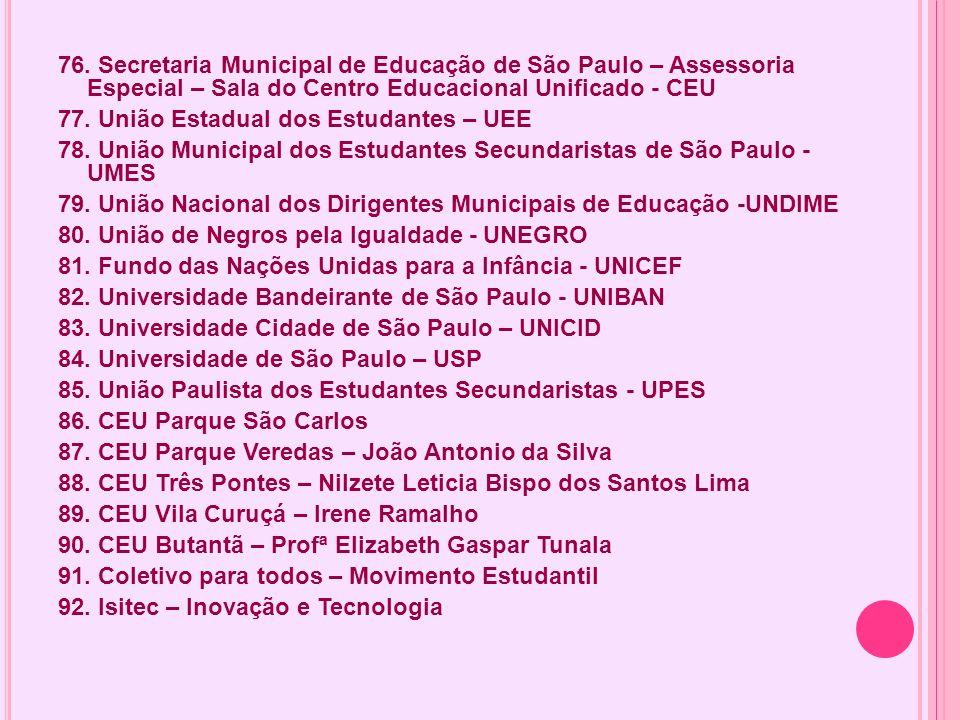 76. Secretaria Municipal de Educação de São Paulo – Assessoria Especial – Sala do Centro Educacional Unificado - CEU