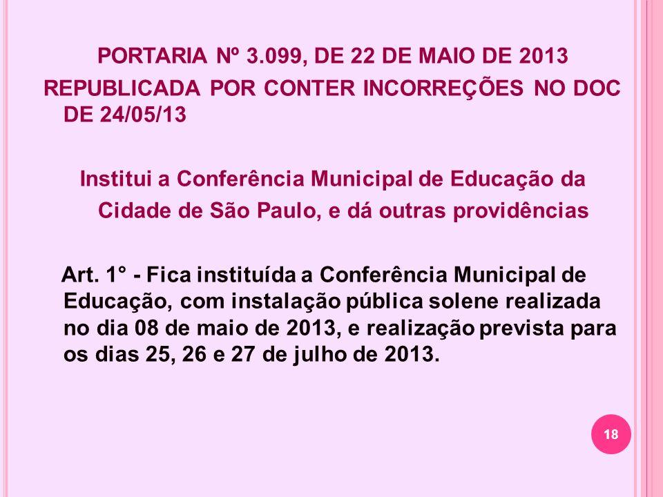 PORTARIA Nº 3.099, DE 22 DE MAIO DE 2013 REPUBLICADA POR CONTER INCORREÇÕES NO DOC DE 24/05/13 Institui a Conferência Municipal de Educação da Cidade de São Paulo, e dá outras providências Art.