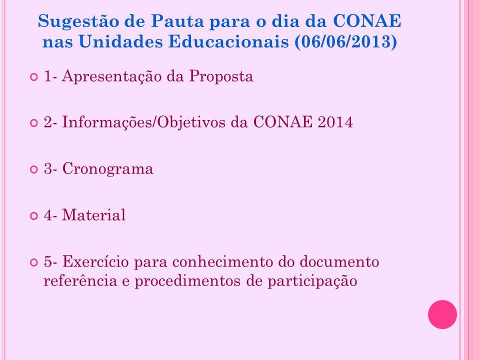Sugestão de Pauta para o dia da CONAE nas Unidades Educacionais (06/06/2013)