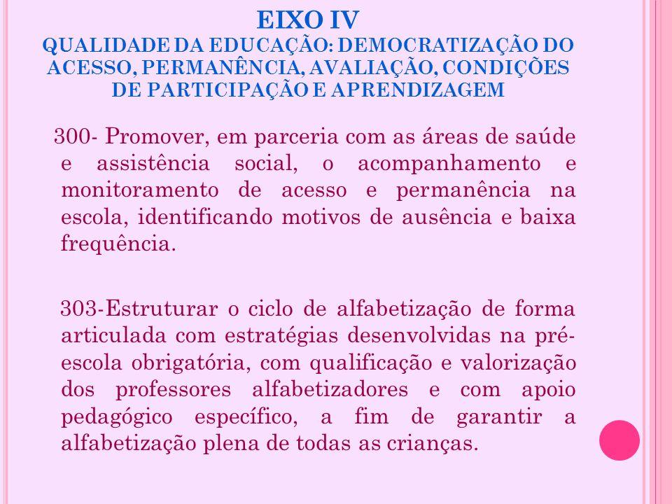 EIXO IV QUALIDADE DA EDUCAÇÃO: DEMOCRATIZAÇÃO DO ACESSO, PERMANÊNCIA, AVALIAÇÃO, CONDIÇÕES DE PARTICIPAÇÃO E APRENDIZAGEM