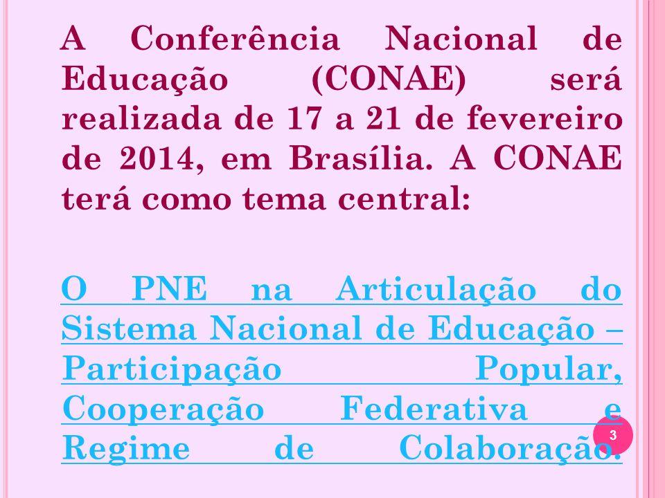 A Conferência Nacional de Educação (CONAE) será realizada de 17 a 21 de fevereiro de 2014, em Brasília.