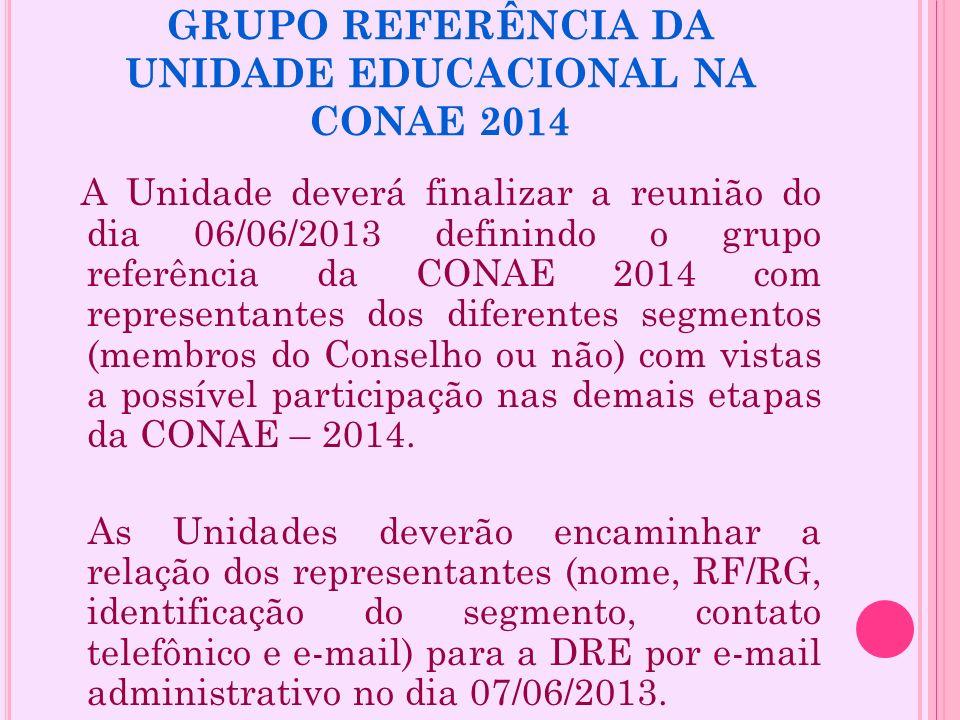 GRUPO REFERÊNCIA DA UNIDADE EDUCACIONAL NA CONAE 2014