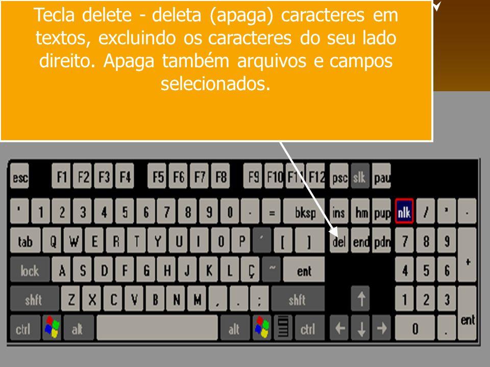 Tecla delete - deleta (apaga) caracteres em textos, excluindo os caracteres do seu lado direito.