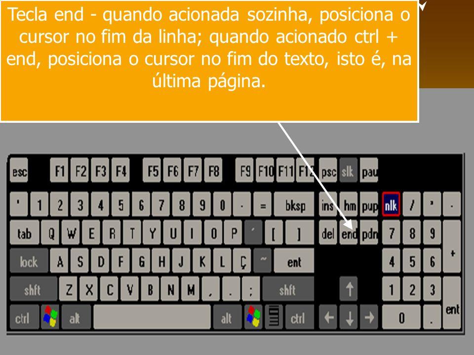 Tecla end - quando acionada sozinha, posiciona o cursor no fim da linha; quando acionado ctrl + end, posiciona o cursor no fim do texto, isto é, na última página.