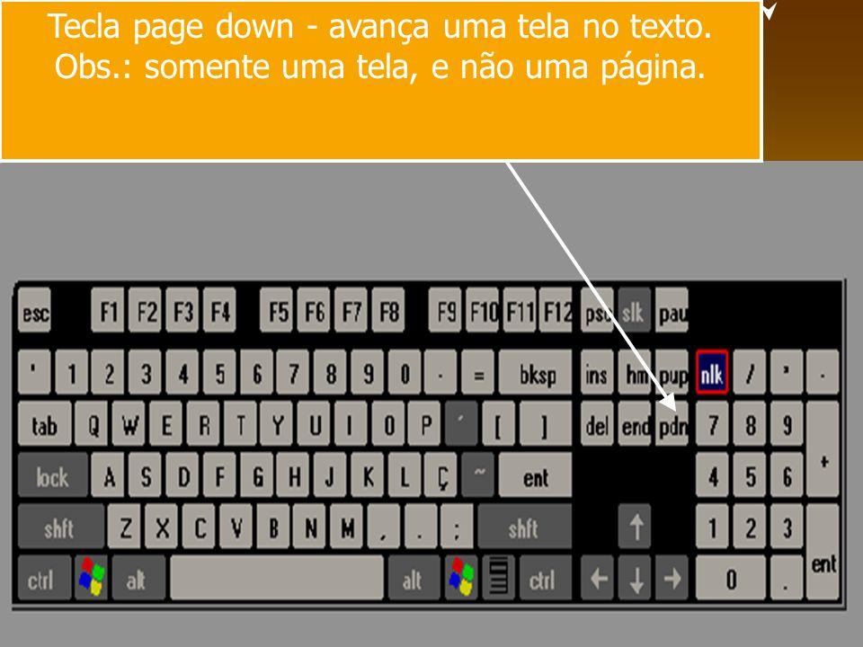 Tecla page down - avança uma tela no texto.