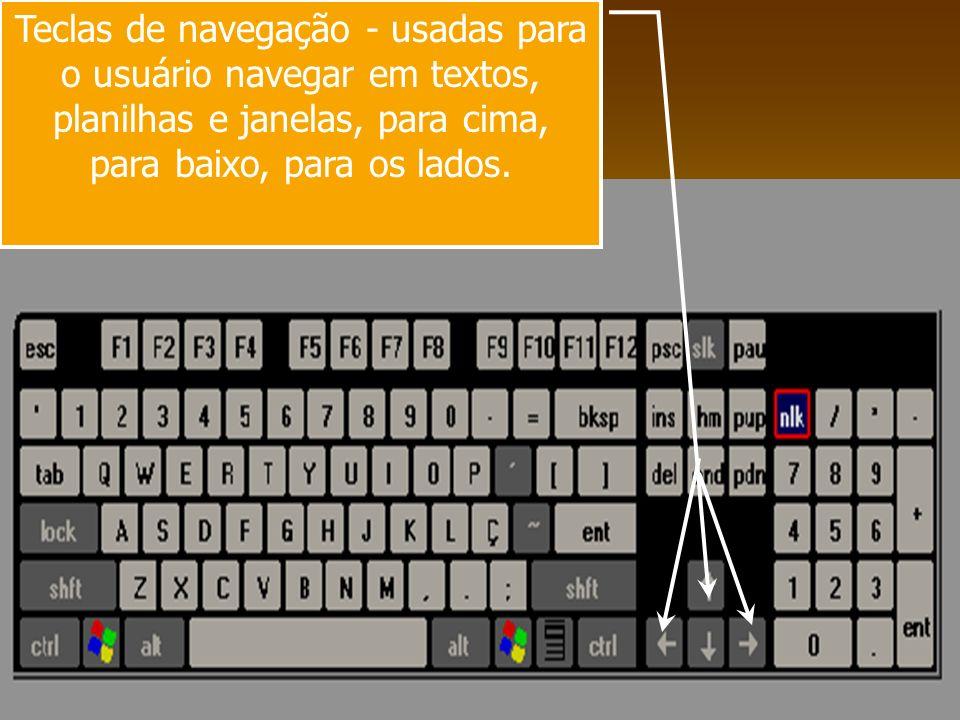 Teclas de navegação - usadas para o usuário navegar em textos, planilhas e janelas, para cima, para baixo, para os lados.