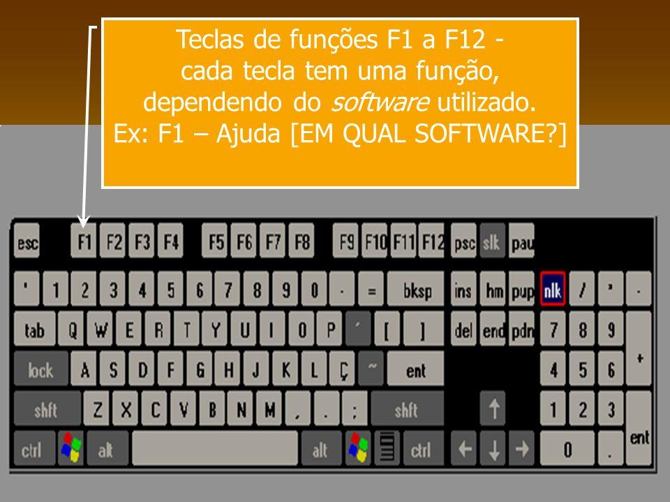 cada tecla tem uma função, dependendo do software utilizado.