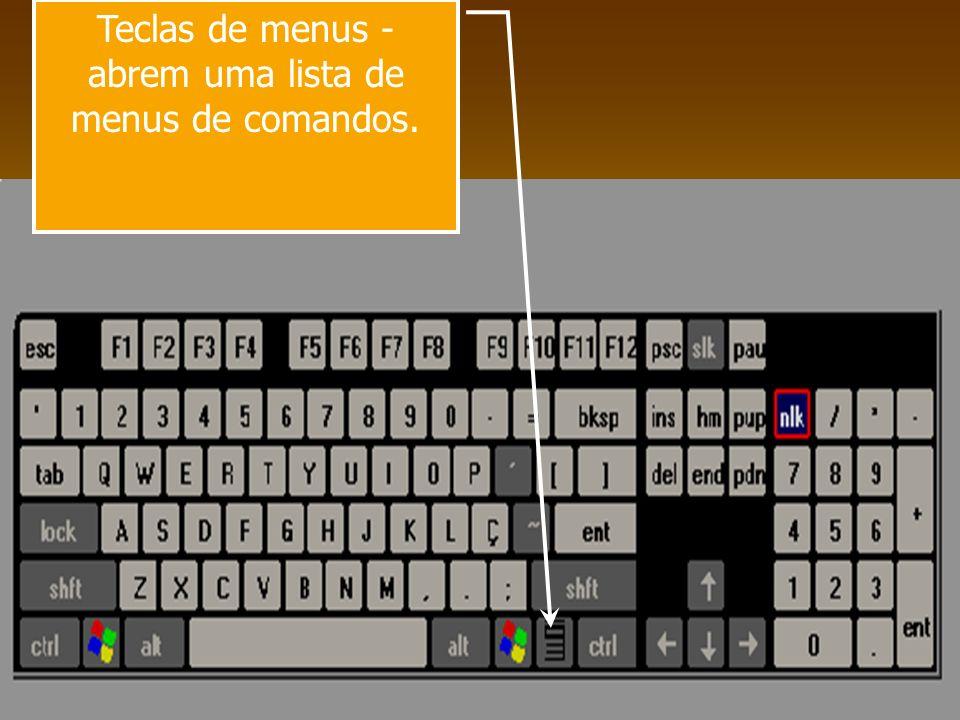 Teclas de menus - abrem uma lista de menus de comandos.