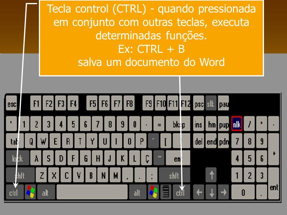 Tecla control (CTRL) - quando pressionada