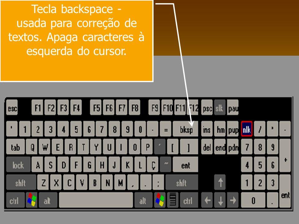 usada para correção de textos. Apaga caracteres à esquerda do cursor.
