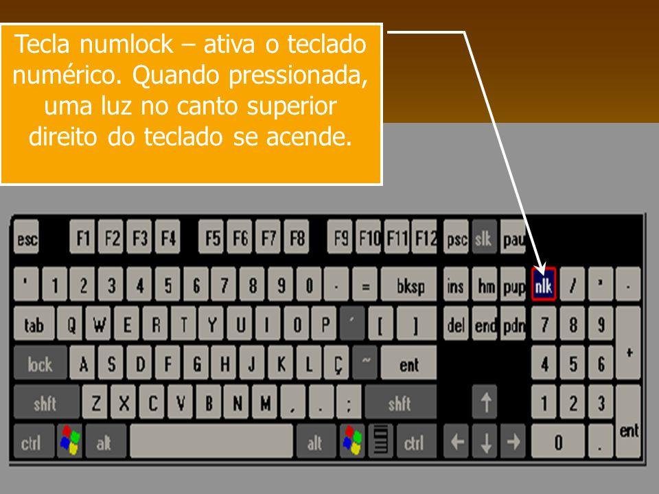 Tecla numlock – ativa o teclado numérico