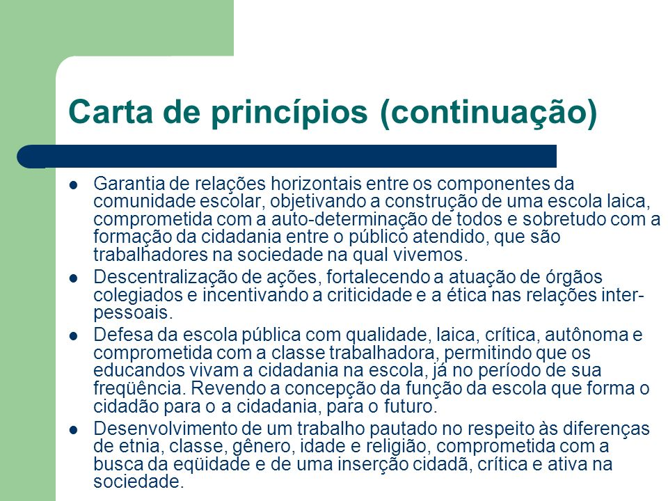 Carta de princípios (continuação)