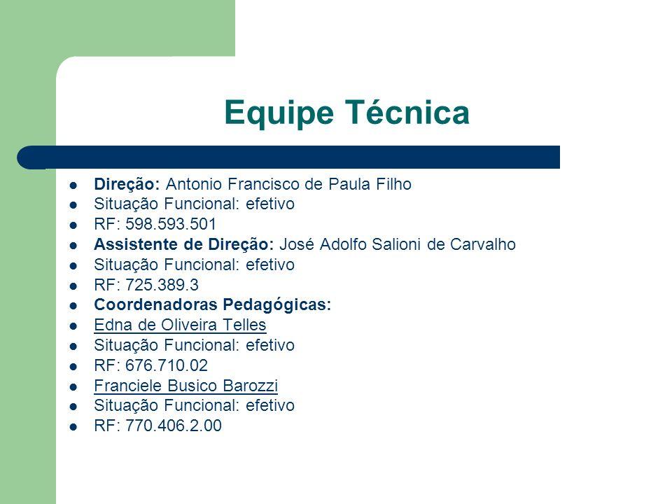 Equipe Técnica Direção: Antonio Francisco de Paula Filho