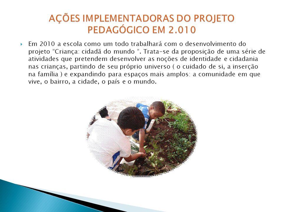 AÇÕES IMPLEMENTADORAS DO PROJETO PEDAGÓGICO EM 2.010