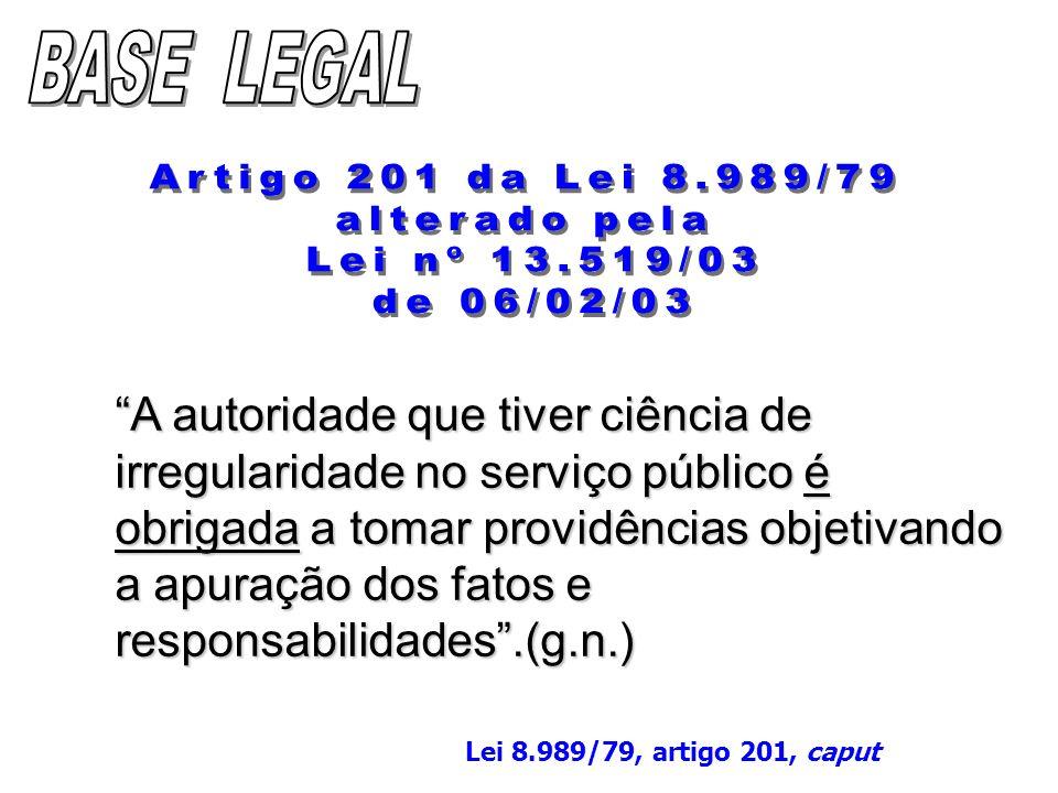 BASE LEGAL Artigo 201 da Lei 8.989/79 alterado pela Lei nº 13.519/03