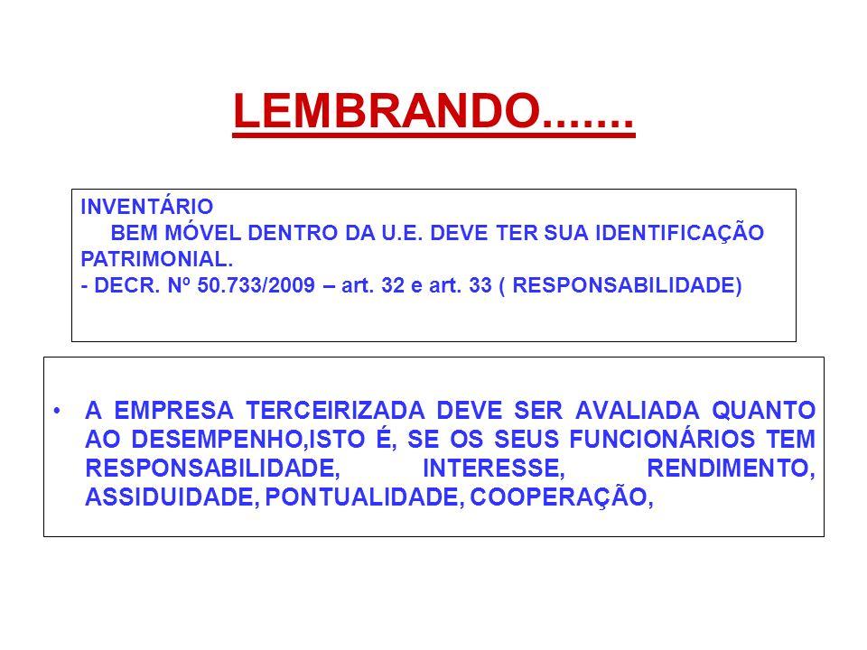 LEMBRANDO....... INVENTÁRIO. BEM MÓVEL DENTRO DA U.E. DEVE TER SUA IDENTIFICAÇÃO PATRIMONIAL.