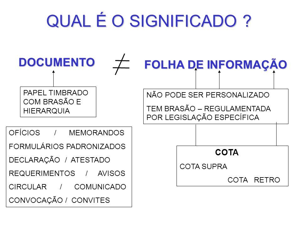 QUAL É O SIGNIFICADO DOCUMENTO FOLHA DE INFORMAÇÃO