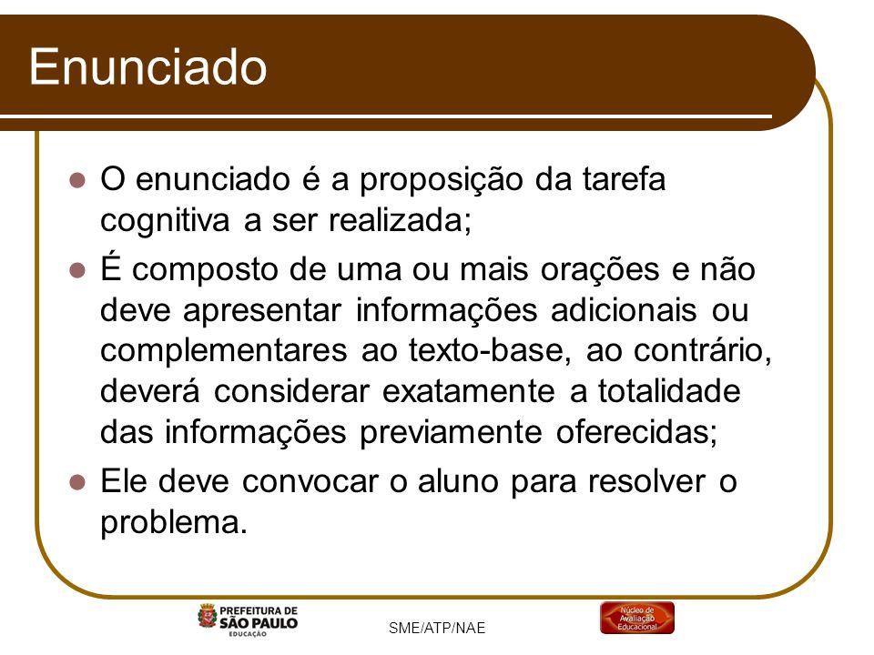EnunciadoO enunciado é a proposição da tarefa cognitiva a ser realizada;