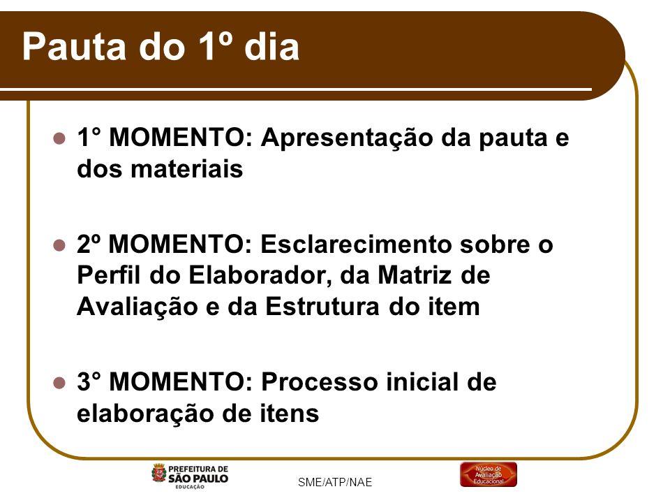 Pauta do 1º dia 1° MOMENTO: Apresentação da pauta e dos materiais