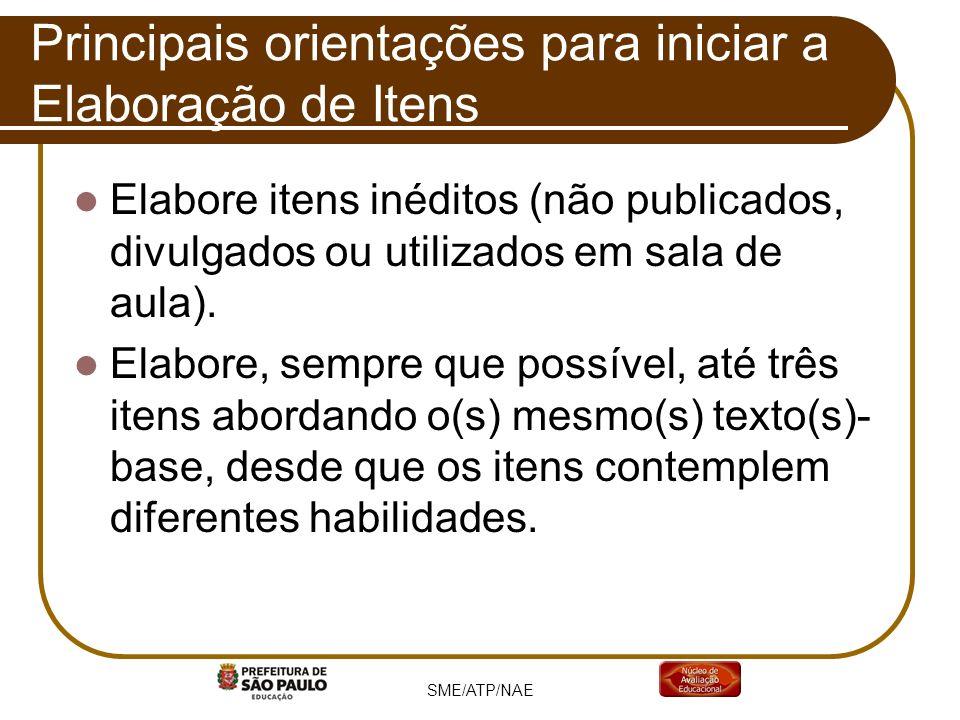 Principais orientações para iniciar a Elaboração de Itens