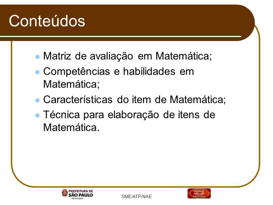 Conteúdos Matriz de avaliação em Matemática;