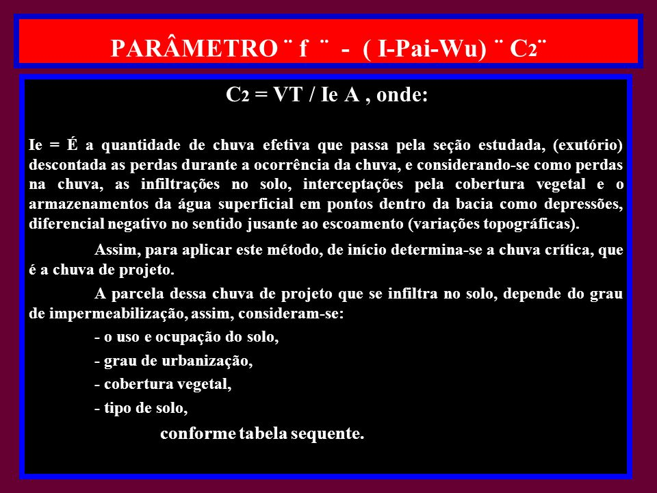 PARÂMETRO ¨ f ¨ - ( I-Pai-Wu) ¨ C2¨