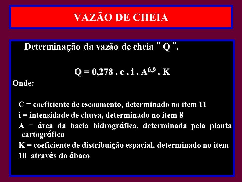 VAZÃO DE CHEIA Determinação da vazão de cheia Q .