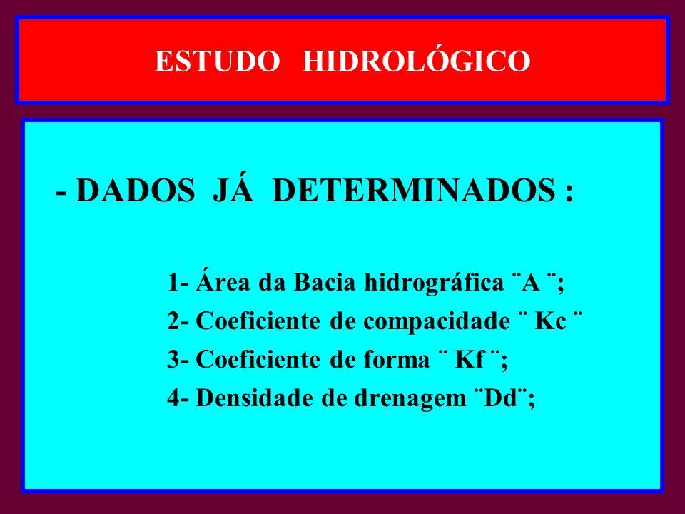 - DADOS JÁ DETERMINADOS :