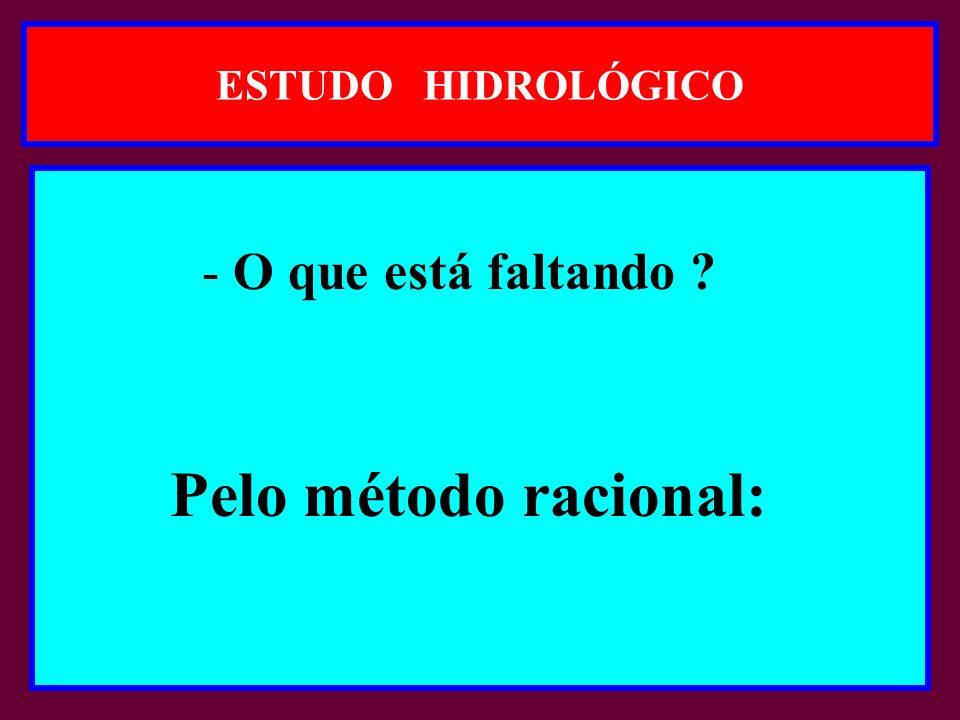 ESTUDO HIDROLÓGICO - O que está faltando Pelo método racional: