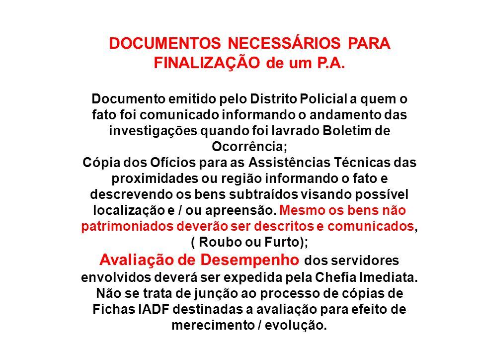 DOCUMENTOS NECESSÁRIOS PARA FINALIZAÇÃO de um P.A.