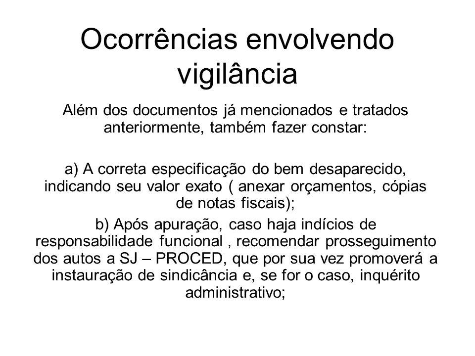 Ocorrências envolvendo vigilância