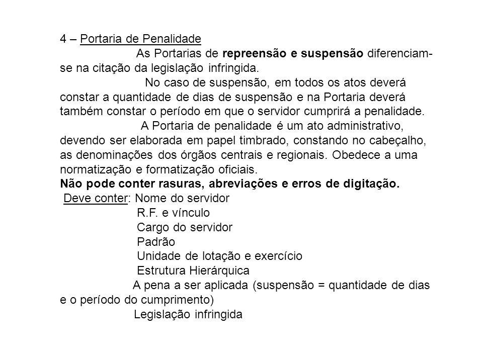 4 – Portaria de Penalidade