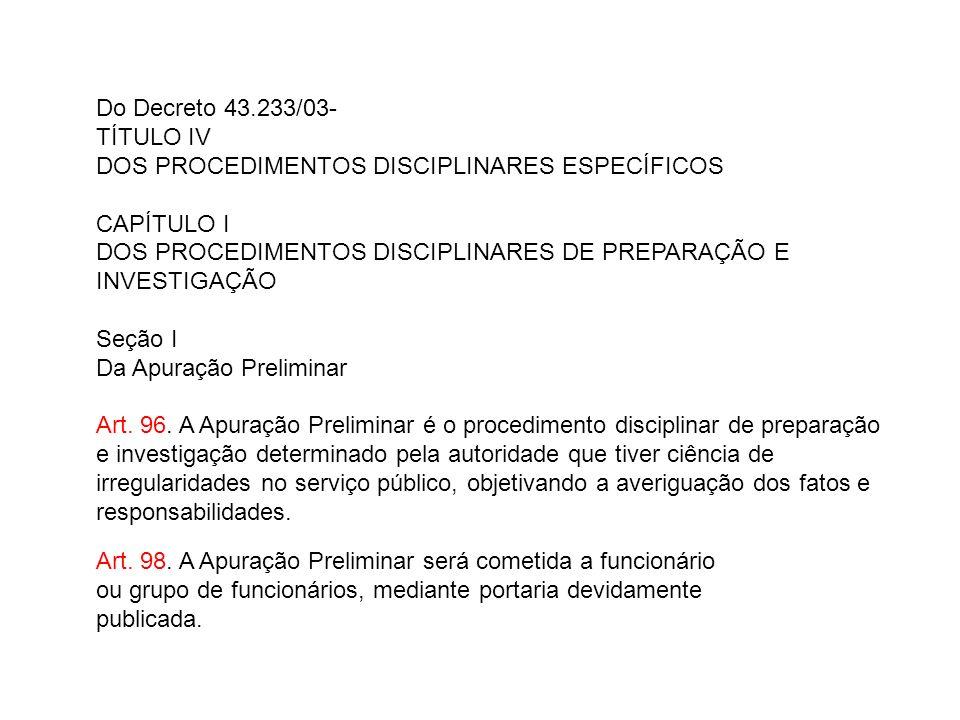 Do Decreto 43.233/03-
