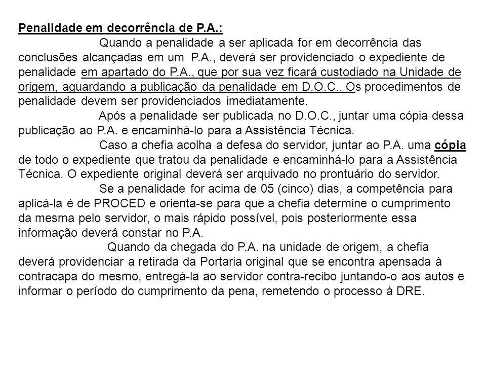 Penalidade em decorrência de P.A.: