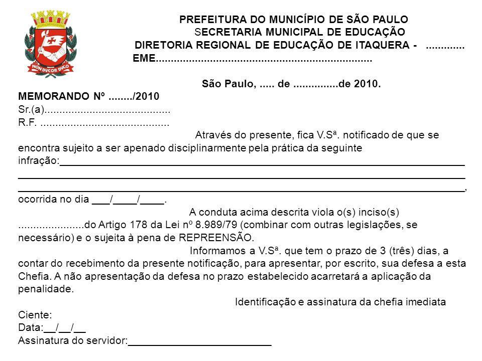 PREFEITURA DO MUNICÍPIO DE SÃO PAULO SECRETARIA MUNICIPAL DE EDUCAÇÃO
