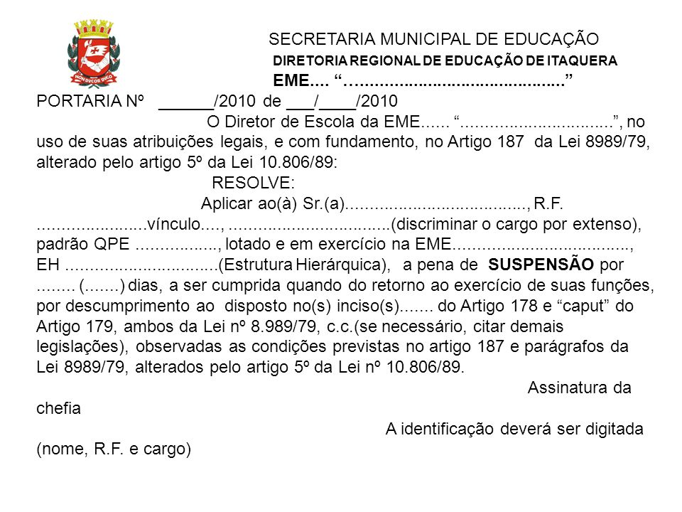 SECRETARIA MUNICIPAL DE EDUCAÇÃO