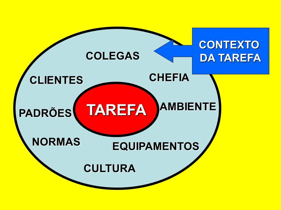 TAREFA CONTEXTO DA TAREFA COLEGAS CHEFIA CLIENTES AMBIENTE PADRÕES