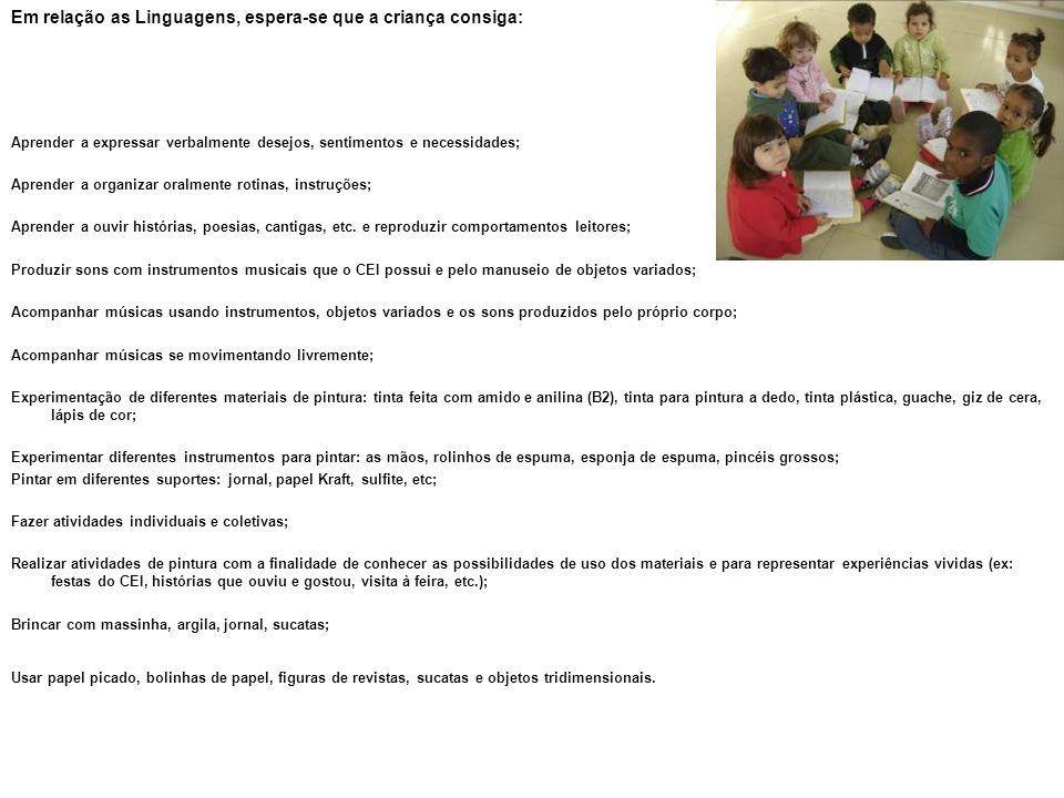 Em relação as Linguagens, espera-se que a criança consiga: