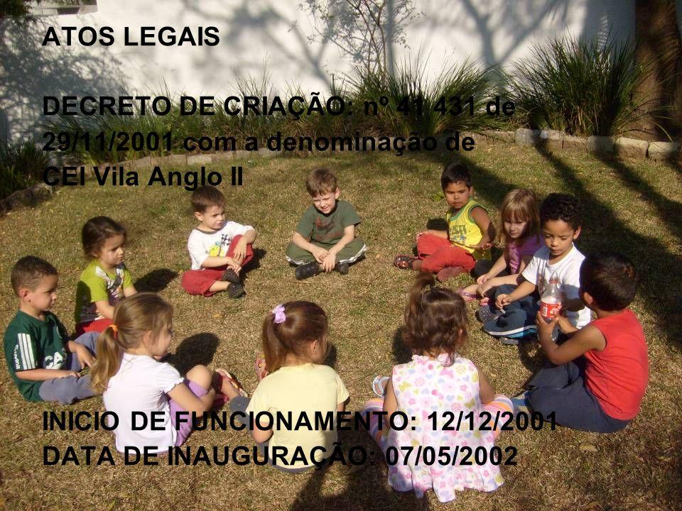 ATOS LEGAIS DECRETO DE CRIAÇÃO: nº 41 431 de. 29/11/2001 com a denominação de. CEI Vila Anglo II.