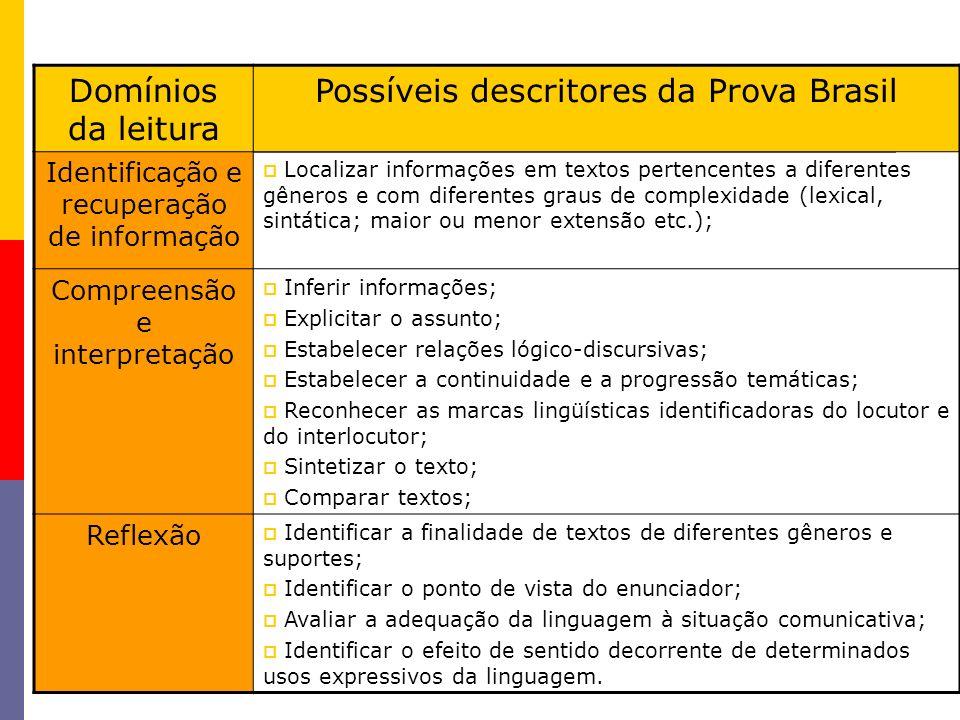 Possíveis descritores da Prova Brasil