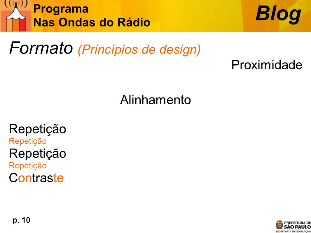 Blog Formato (Princípios de design) Proximidade Alinhamento Repetição
