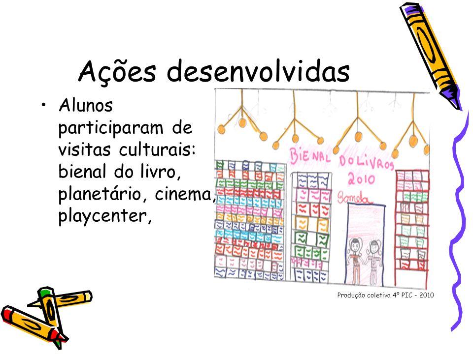Ações desenvolvidas Alunos participaram de visitas culturais: bienal do livro, planetário, cinema, playcenter,