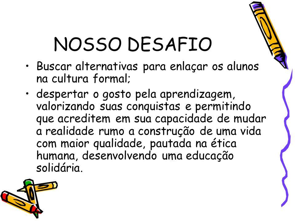 NOSSO DESAFIO Buscar alternativas para enlaçar os alunos na cultura formal;