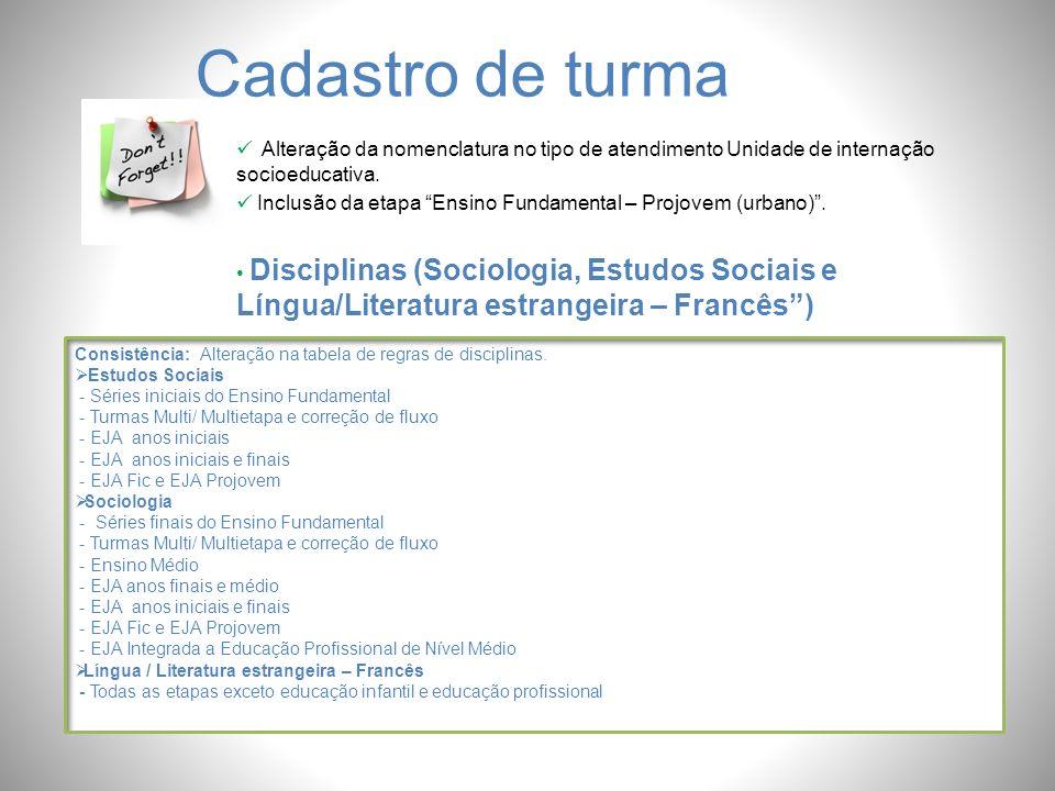 Cadastro de turma Alteração da nomenclatura no tipo de atendimento Unidade de internação socioeducativa.