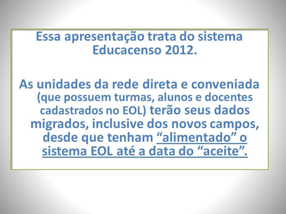 Essa apresentação trata do sistema Educacenso 2012.