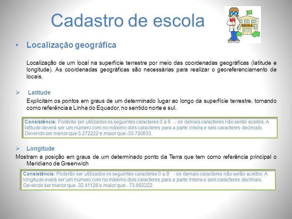 Cadastro de escola Localização geográfica